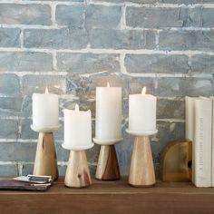 Marble + Wood Candleholder | west elm