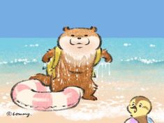 Otter Cartoon, Kawaii, Book Journal, Fun Prints, Otters, Cute Baby Animals, Cute Drawings, Artsy Fartsy, Cute Babies