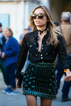 How to wear a button front shirt and embellished mini skirt