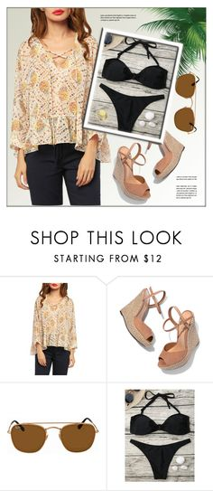 """""""Loose"""" by monmondefou ❤ liked on Polyvore featuring Schutz and Ray-Ban"""