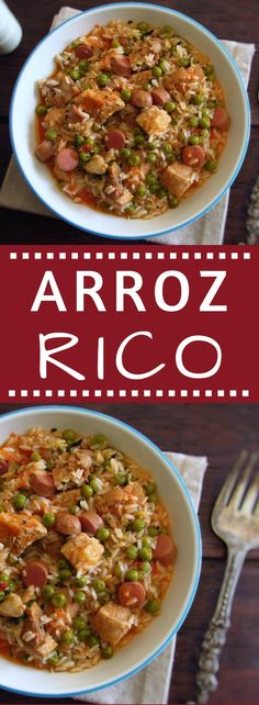 If you like rice and meat you have to try this recipe that combines both ingredients and not only! It's a simple and very easy recipe to prepare! Try this delicious blend of flavors and ingredients! Rice Recipes, Meat Recipes, Real Food Recipes, Dinner Recipes, Cooking Recipes, Healthy Recipes, Healthy Food, Arroz Rico, Arroz Risotto