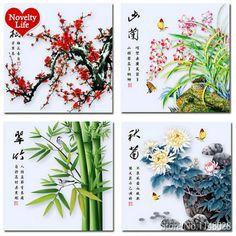 Diamant Needlework point de croix Kit Plum Orchid Bamboo chrysanthème 3D fleur accueil bricolage peinture broderie ronde strass nouvelle(China (Mainland))