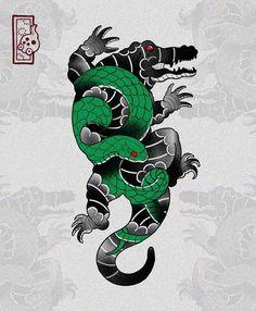 Dragon Tattoo Colour, Dragon Tattoo Back Piece, Dragon Sleeve Tattoos, Frog Tattoos, Mini Tattoos, Body Art Tattoos, Arabic Tattoos, Japanese Dragon Tattoos, Japanese Tattoo Art
