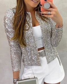Long Sleeve Open Front Sequin Coat - - Style:Fashion Pattern Type:Sequins Material:Polyester Neckline:Open Front Sleeve Style:Long Sleeve Length:Regular Occasion:Casual Package Note: There might be difference accordin… Source by Sequin Coats, Sequin Jacket, Sequin Blazer, Trend Fashion, Fashion Outfits, Womens Fashion, Style Fashion, Fashion Beauty, Cheap Fashion