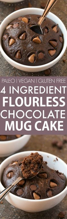 4 Ingredient Flourless Chocolate Mug Cake (V GF Paleo)- Ready in just ONE minute this HEALTHY chocolate cake is moist gooey naturally sweetened and has NO butter oil flour grains or sugar but you'd never tell- Oven option too! Vegan Sweets, Healthy Sweets, Vegan Desserts, Baking Desserts, Bon Dessert, Paleo Dessert, Dessert Recipes, Dinner Recipes, Dinner Dessert