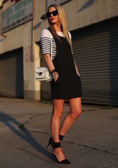 Very cute outfit, keeping things black and white.