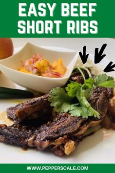 Beef short ribs have two grand qualities. They're seriously high on flavor and attractively low on cost. For me, that's an outstanding combo. In this dish, they're cooked long and slow in a velvety sauce of hot bird's eye chilies, sweet mango, garlic, baby onions, fresh ginger, and dark soy sauce. #beefshortribs #chilimangosauce #beefrecipes #spicybeefshortribs Lamb Recipes, Spicy Recipes, Meat Recipes, Mexican Food Recipes, Best Crockpot Recipes, Slow Cooker Recipes, Spicy Steak, Spicy Meatballs, Mango Sauce