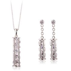 Authentic Austria white crystal 18k white gold plated shining necklace earrings jewelry set [JS519] - US$11.64 : www.evernewfashion.com
