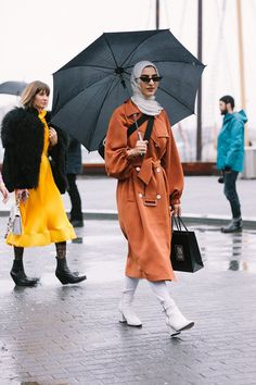 d39a34076 The Best of NYFW Street Style FW18 Its the Tibi Pleated Yellow Dress again!  Love