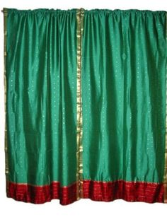 Morrocan Decor- 2 Darkgreen Red Art Silk Curtains Drapes Panels Rod Pocket 84x44 Inch by Mogul Interior, http://www.amazon.com/dp/B00BXWN9D4/ref=cm_sw_r_pi_dp_1NXtrb1PZ5YJ5