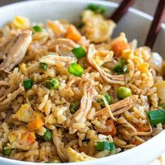 CHICKEN FRIED RICE This is SOOO good. Way better than takeout! Get the recipe --> http://therecipecritic.com/2014/03/chicken-fried-rice/