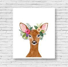Cerf imprimé, andouiller de cerf, Decor bois, Art pariétal, pépinière de Woodland, Animal Print, imprimable Art, animaux de la forêt, aquarelle