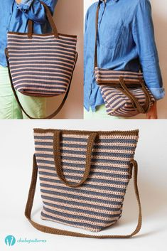Striped bag with two handles, photo tutorial and written instructions/ Bolso rayado con dos asas, foto tutorial e instrucciones escritas by Chabepatterns
