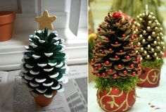 diy pinecone mini christmas trees