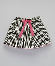 Another great find on #zulily! Black & Pink Zigzag Bow Skirt - Toddler & Girls #zulilyfinds