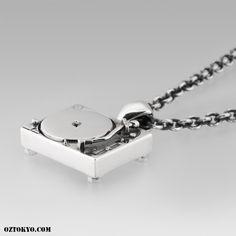 Turntable « An Original Oz Abstract Tokyo charm from the world famous Underground Sound Collection; Turntable is dexterously fashioned in the likeness of a classic turntable deck from fine sterling silver. Dynamic Design, Turntable, Online Boutiques, Tokyo, Chokers, Deck, Pendants, Sterling Silver, Chain
