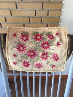 Vintage Danish Embroidered Pillow Cover with Pink Flower Pattern / Handmade in the Denmark  / Scandinavian embroidery / 1950's or 1960's