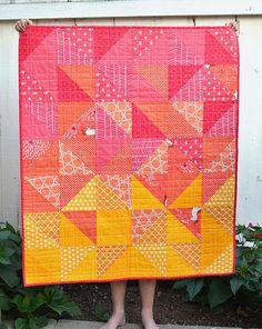 Hst quilt - warm colors