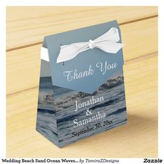 Wedding Beach Sand Ocean Waves Thank You Favor Boxes with White Ribbon Bow. Lovely favor boxes for your wedding or bridal shower guests.  PERSONALIZE to suit your occasion!  Original Photography design by TamiraZDesigns via:  www.zazzle.com/tamirazdesigns*