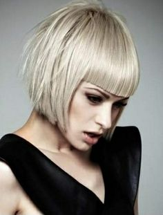 pinterest bob haircuts | Chin length platinum bob with blunt bangs | Bob Hairstyles