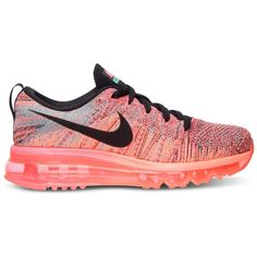 Nike Women's Flyknit Air Max Running Sneakers from Finish Line ($225) ❤ liked on Polyvore featuring shoes, nike shoes, cross shoes, nike, nike footwear and flyknit shoes
