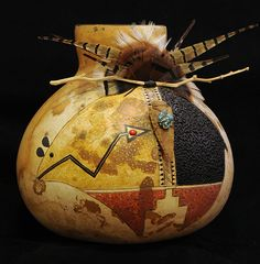Really LIKE--but NO to want or need.   .   .   . Mimbres Buffalo Gourd Pot by Robert Rivera