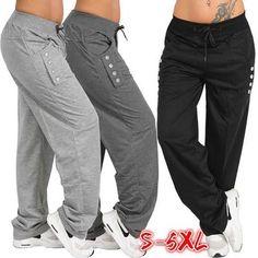 Women Plus Size Fashion Casual Loose Buttons Trousers Solid Color Pants Loose Pants, Wide Leg Pants, Ankle Pants, Yoga Trousers, Trouser Pants, Harem Pants, Linen Drawstring Pants, Comfy Pants, Sport Pants