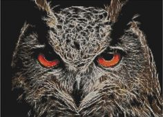 Counted Cross Stitch Pattern or Kit, Animal, Fractal Owl 2