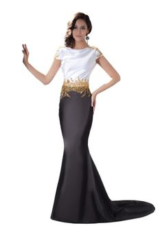 Herafa Short sleeve Mermaid Evening Gowns Sweep Length Train Delicate Beading Black Size:12