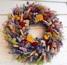 """Dried Flower Wreath, """"Nature's Treasures"""" Spring Wreath, Year Round Wreath, Door Wreath, Flower Wrea"""