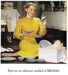 Gee, thanks honey. Plastic dinnerware for my birthday. (Melmac Advert)