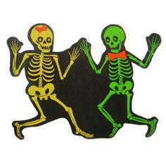 Vintage Dancing Skeletons Halloween Decoration