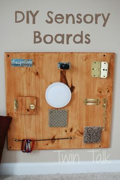 Our DIY sensory boards have been great fun for our babies-turned-toddlers. Great for any age, they last years and are easy to make! (diy toys to make for toddlers) Diy Sensory Board, Sensory Table, Baby Sensory, Sensory Bins, Sensory Activities, Infant Activities, Sensory Play, Learning Activities, Activities For Kids