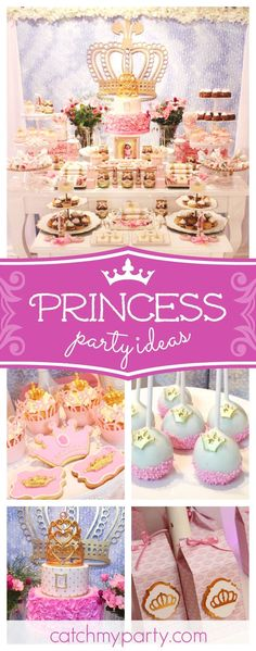 Don't miss this wonderful vintage princess birthday party! The dessert table is so pretty!! See more party ideas and share yours at CatchMyParty.com  #catchmyparty #partyideas #princess #girlbirthday