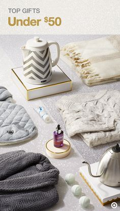 Give the coziest, most heartwarming gifts this Christmas with ideas that pamper and keep you on budget of $50. Soft, plush robes, beautiful cable knit sweaters and luxurious fringe throws are perfect to help them put their feet up and relax—a quilted jacket for the pooch is nice, too. Then add warmth on the inside with water-warming kettles in on-trend ceramic chevron or sleek stainless steel to keep the tea flowin'.