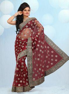 Embellished Red Net Saree