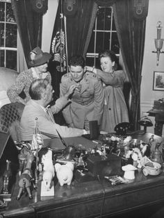 Captain Joseph Foss and His Family Meeting with President Franklin Roosevelt in the Oval Office