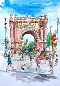 Artist: Suhita Shirodkar – Media: Ink and Watercolor