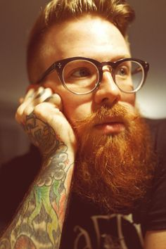 beautiful full thick long red beard and mustache beards bearded man men mens' style glasses tattoos tattooed ginger redhead so handsome #beardsforever