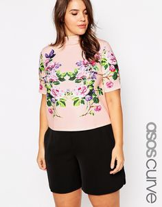 ASOS CURVE High Neck Top With Floral Placement Print