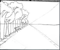 drawing one point perspective - step by step directions that are very easy to follow