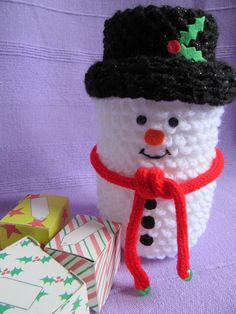 Snowman decoration, crochet snowman, snowman ornament, cute snowman, jar cover, christmas jar covers, gift boxes, cute gift boxes by TheCraftingGardener on Etsy Snowman Decorations, Snowman Ornaments, Crochet Snowman, Christmas Jars, Cute Gift Boxes, Cute Snowman, Colorful Decor, Uk Shop, Shops