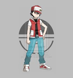 R/B/G/Y Red by Dark9113.deviantart.com #pokemon #trainer #red #sugimori #champion #deviantart