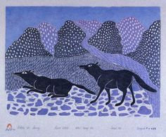 Wolves in Spring Kenojuak Ashevak Inuit Kunst, Arte Inuit, Inuit Art, Native American Artists, Canadian Artists, Kunst Der Aborigines, American Indian Art, Indigenous Art, Art Themes
