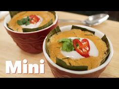 """Steamed Red Curry Custard (mini) """"Haw Mok"""" - YouTube --> I MUST do this w/ eggplant instead of fish. Yum!!"""