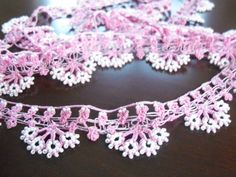 Hand Crocheted Oya Necklace pink and white bead by colourfulrose, $23.50