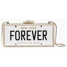 Kate Spade Wedding Belles License Plate Clutch featuring polyvore, women's fashion, bags, handbags, clutches, purses, bolsa, embellished purse, white hand bags, white clutches, white handbags and white purse