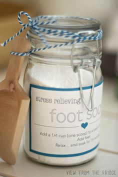 DIY Homemade Stress Relieving Foot Soak.  1 sea salt 1 Epsom salt 2 baking soda  10 drops essential oil