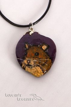 Handmade hamster necklace / painted animal rock / quirky pet pendant