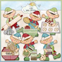 Elfis Helps Bake Cookies 1 - NE Cheryl Seslar Clip Art